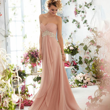 Custom long prom dress/beaded chiffon prom gown/celebrity dress/evening dress/home coming/cocktail/party/ball gown dress/bridesmaid dresses