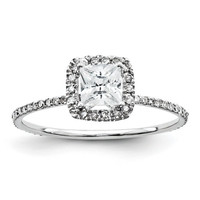 Unique Diamond Antique Eternity Princess Cut with Cushion Halo Engagement Ring 14K White Gold