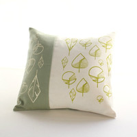Decorative throw pillow- Green and natural cushion cover with leaves hand printed
