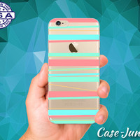 Mint And Coral Pastel Horizontal Line Art Cute Clear Transparent Rubber Case Cover For iPhone 5/5s, iPhone 5C, iPhone 6 and iPhone 6 Plus +