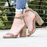 Leopard Printed Ankle Strapped Sandals