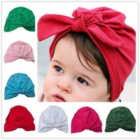Baby turban hat with bow turbans for tots Infant toddler Topknot beanie Photo Props Baby girls shower gift stretchy 1pc H034