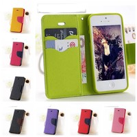 For iPhone 7 7 Plus 6 6S Plus 5S Case Leather Ultra Flip Card Holder Stand Cover New Fashion Hot Color