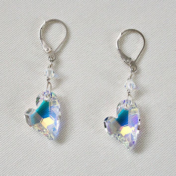 Beautiful and Stylish Crystal Heart Earrings for Valentines Day