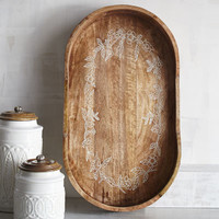 Carved Botanical Scroll Tray
