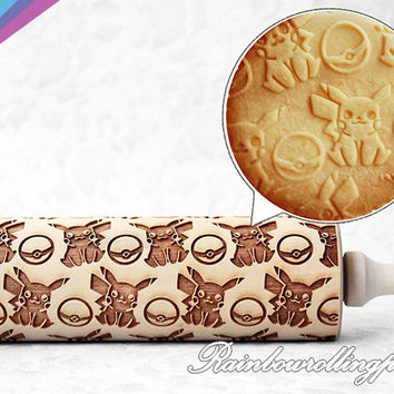 Pokemon,pikachu pattern,Video game,Engraved rolling pin,pikachu cookies,Pokemon cookie,Pokeball cookie,pikachu cookie cutter