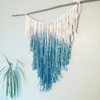 Mermaid Macrame Curtain- Macrame Wall Hanging~ Bohemian Furniture~ Boho Wall Decor~ Wedding Decor~ Indigo Wall Accent- Bohemian Bedroom