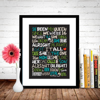 One Direction - Steal My Girl / Song Lyric Typography Poster