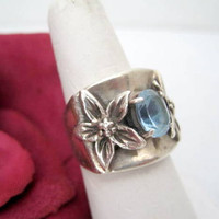 Sterling Silver Ring Blue Spinel Prairie Fire Size 8