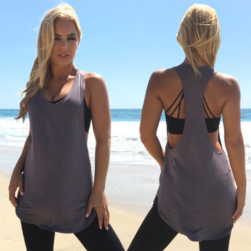 Work It Out Jersey Tank In Charcoal