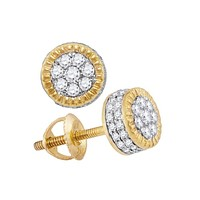 10kt Yellow Gold Mens Round Diamond 3D Milgrain Cluster Stud Earrings 5-8 Cttw