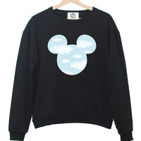 CLOUDS MICKEY SWEATER sky blue sweatshirt jumper hipster grunge retro paris fashion tumblr heart pink swag dope cara funny cool teen swag