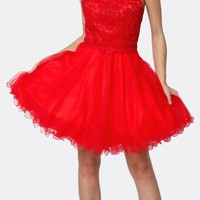 Fit-and-Flare Halter Neck Short Dress Red Homecoming Party