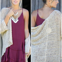 Warm Sentiments Oversized Tan Open Knit Cardigan