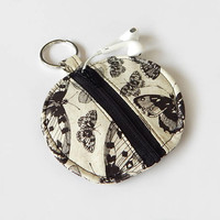 Butterfly Earbud Holder / Coin Pouch / Black and White / Earbud Case / Ear Bud Holder / Back to School / Small Circle Pouch / Butterflies