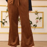 Plus Size Solid Belted Flare Leg Corduroy Pants