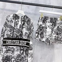Dior New Fashion Letter Print Long Sleeve Top And Shorts Two Piece Suit