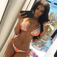 HOLTGIRL- KARLITA SWIMWEAR IN CORAL WITH CRYSTALS