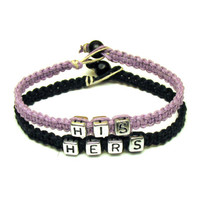 His Hers Bracelet Set for Couples, Light Purple and Black Macrame Hemp Jewelry, Made to Order