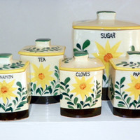 Vintage Canister Set of 5, 1950s Sunflower Canisters,    Garden Theme Kitchen Storage by Nasco