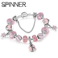 SPINNER Mermaid Charm Bracelets Women With Glass Beads fit Snake Chain Pandora Bracelet diy Femme Jewelry