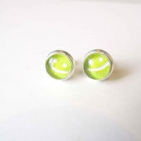 Android Text Message Icon Stud Earrings - Glass Cabochon Earrings - Glass Dome Earrings