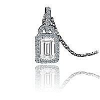 1CT Radiant Diamond Veneer Cubic Zirconia Center Sterling Silver Pendant. 635P25366