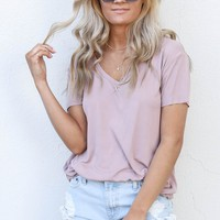 Double Date Dusty Pink V-Neck Top