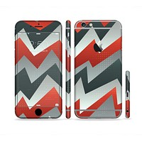 The Abstract Red, Grey and White ZigZag Pattern Sectioned Skin Series for the Apple iPhone 6