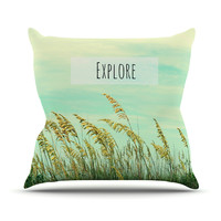"Robin Dickinson ""Explore"" Quote Green Outdoor Throw Pillow"