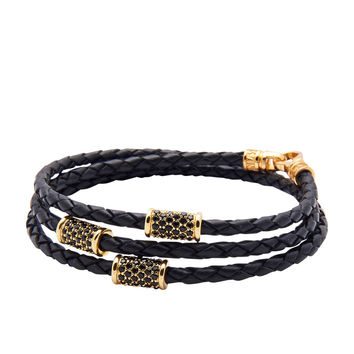 Leather Black with Gold Plated Tubes
