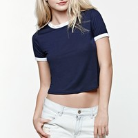 LA Hearts Ringer Cropped T-Shirt - Womens Tee - Blue
