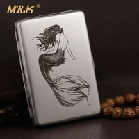 MRK metal cigarette case MBX102 metal wire drawing proce 100mm's long slim cigarette box 100mms boxes mermaid handing lotus