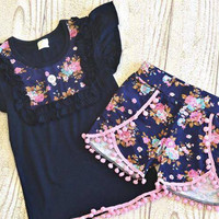 Navy and Pink Floral Flutter Top with Navy Floral Shorts *FLASH SALE* *PREORDER 0057* Closes Feb. 12th*