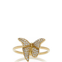 18K Yellow Gold Single Butterfly Ring with Diamonds