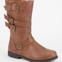 Yokids Allison Girls Strapped Boots Rust  In Sizes