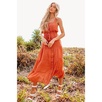 Naturally Inclined Tiered Button-Front Midi Dress (Rust)