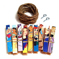 Disney Princess Party Photo Clothesline Kit Decorative Clothespins Cinderella Little Mermaid Jasmine Sleeping Beauty Ursula Snow White