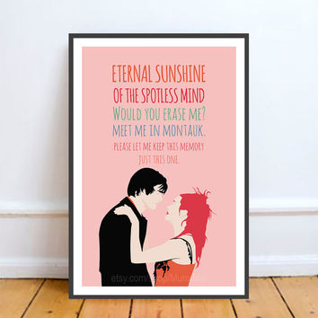 Eternal Sunshine of the Spotless Mind, Jim Carrey, Kate Winslet, Movie Poster Art.