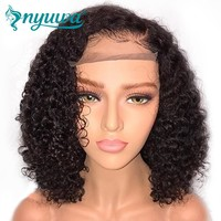 """Man Unit Base - NYUWA Short 13x6 Lace Front Human Hair Wigs Pre Plucked With Baby Hair Curly Brazilian Remy Hair Lace Front Bob Wigs 10""""-14"""" Men Unisex"""