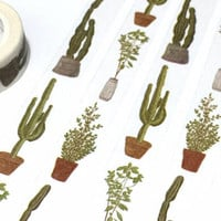 cactus plant washi tape 7M potted Green plant cute plant tape succulent plant diary gardening planner sticker mini plant garden decor tape