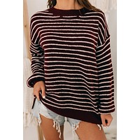 Rocky Mountain Retreat Striped Sweater (Burgundy/Ivory)
