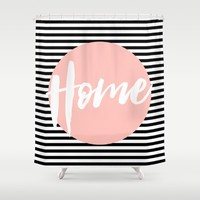Modern Home typography - peach and stripes Shower Curtain by Allyson Johnson | Society6