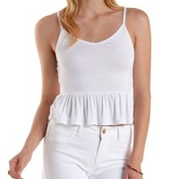 White Strappy Babydoll Tank Top by Charlotte Russe
