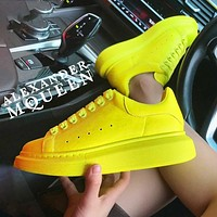 Alexander McQueen MCQ Fashion Women Men Sneakers Macaron Shoes Yellow