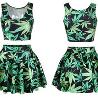 Womens Trendy Weed Leaf 2 Piece Crop Top Skirt