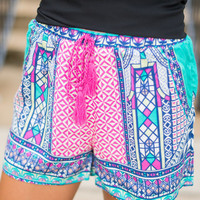 Window To Design Shorts, Purple-Teal