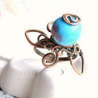 """Copper Mood Ring """"Blue rosebud"""" with blue bead Hand made"""