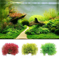 Plastic Artificial Water Green Grass Plant Aquarium Fish Tank Ornament Decor