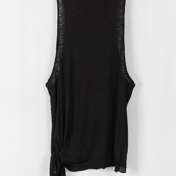 Sleeveless Side Tie Jersey Muscle Tank Top - Black